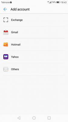 Opsætning af email på android